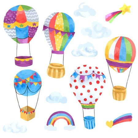 Balloon Cartoon watercolor collection isolated on white background , Set of Balloon Hand drawn painted for Greeting Card ,Wallpaper ,Postcards, Product,Packaging and more Ilustración de vector