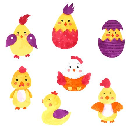 Chicken Cartoon watercolor collection on white background , Hand drawn character for Kids, Greeting Card , Cases design, Postcards, Product, Notebook and more Vettoriali