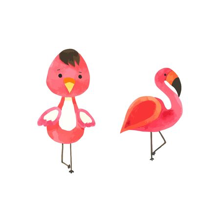 Flamingo watercolor isolated on white background , Cute bird Character Hand drawn painted for Kids, Greeting Card ,Wallpaper ,Postcards, Product,Packaging and more Vettoriali