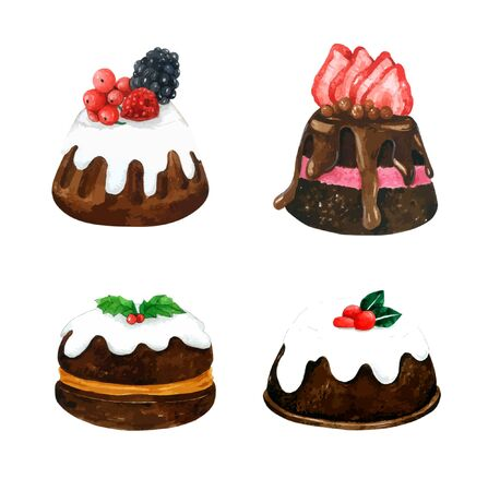 Set of watercolor Cakes. Vector watercolor, Hand drawn for Greeting Card, Packaging , Bakery Shop and more