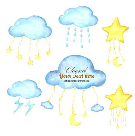 Cloud and Star watercolor collection for Baby Banner Mobile Ilustracja
