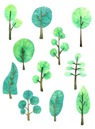 Tree Cartoon Watercolor, Vector Tree for Design. Decorative wood banners perfect for card making, wedding invitation and more