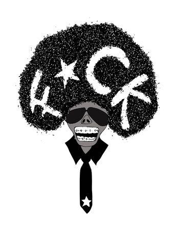 Vintage Punk, Vector of Man Metal for design , t-shirt ,Black white