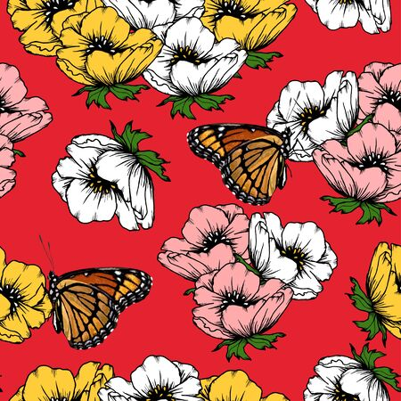 Roses and Butterfly Seamless Pattern Hand drawn