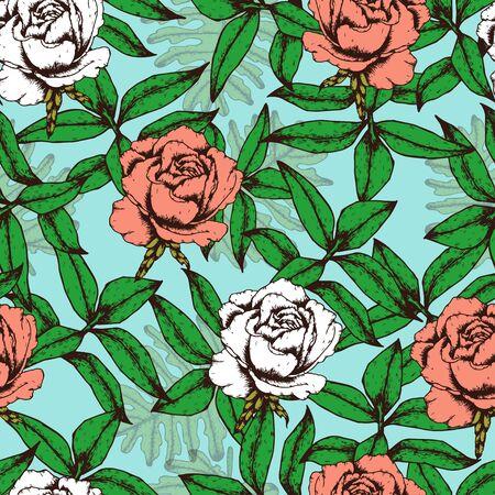 Roses Seamless Pattern Hand drawn Çizim