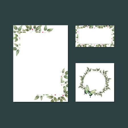 Hand drawn Floral Wedding Card template Illustration