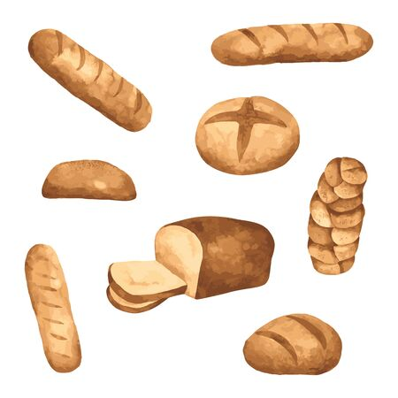 Bread watercolor isolated on white background. Hand drawn painted for design