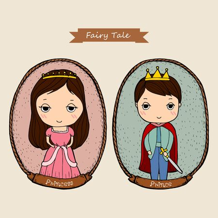 Fairy tale couple, prince and princess in frame. Cartoon character Design