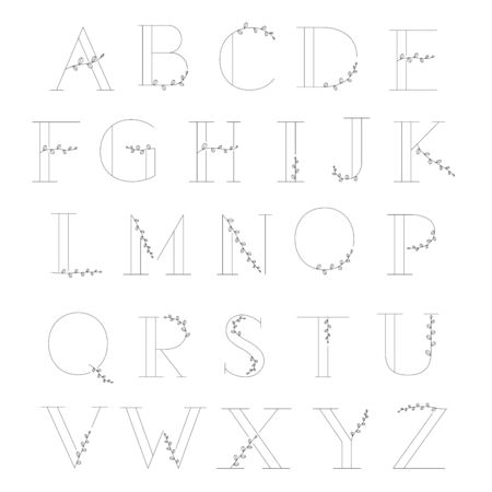 Alphabet with leaf minimal design line art