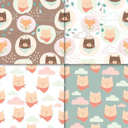 Set of cute animals seamless pattern, cartoon cute of bear and cat for kids. Illusztráció