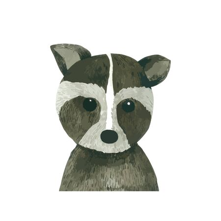Raccoon cartoon watercolor isolated on white background . Animal hand drawn character painting.