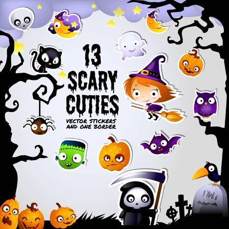 Thirteen Frightfully Scary Halloween Cuties Stickers and Border Frame Иллюстрация