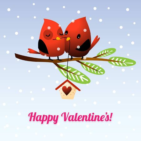 Valentine's Day Love Birds Snuggle on Tree Branch with snowflakes falling Illustration