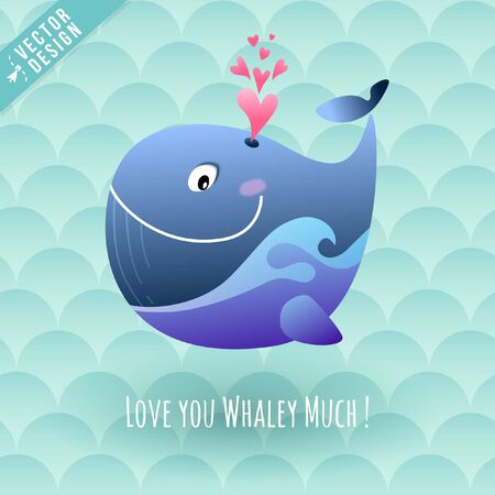 Warm Hearted Happy Marine Whale Blows Love Hearts with I Love You Whaley Much Message