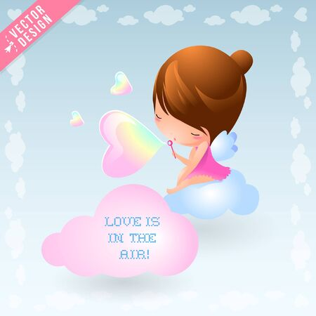 Mythical Fairy Nymph Character Illustration Blows Love is in the Air Bubbles from Heavenly Clouds Çizim