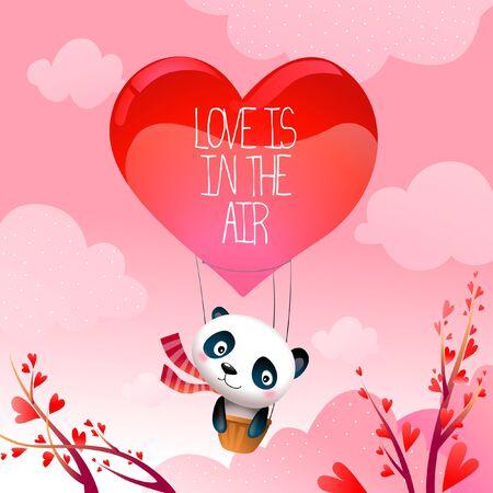 Valentines Day Romantic Panda Bear Rides Love is in the Air  Rising Hot Air Balloon Illustration Illusztráció