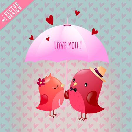 Gallant Love Bird Sweetheart Characters Share Umbrella Parasol with Love You Hearts