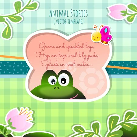 Children's Engaging Animal Stories Vector Template Happy Hopping Frog with Colorful Butterfly in Lily Pond Illustration