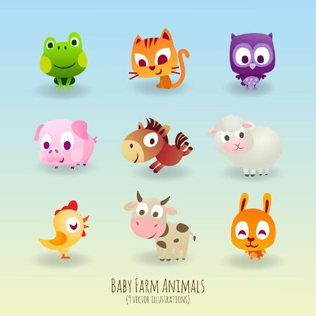 Children's Storybook Vector Farmyard Animal Characters Having Fun including Frog, Kitten, Owl, Pig, Donkey, Lamb, Chick, Cow, Gopher  イラスト・ベクター素材