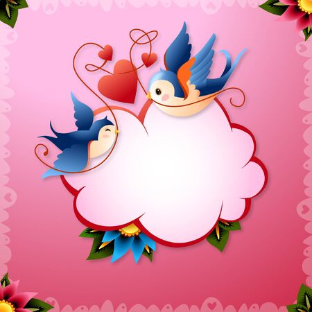 Romantic Illustration of Valentines Day Love Birds with Hearts and Text Callout Word Balloon