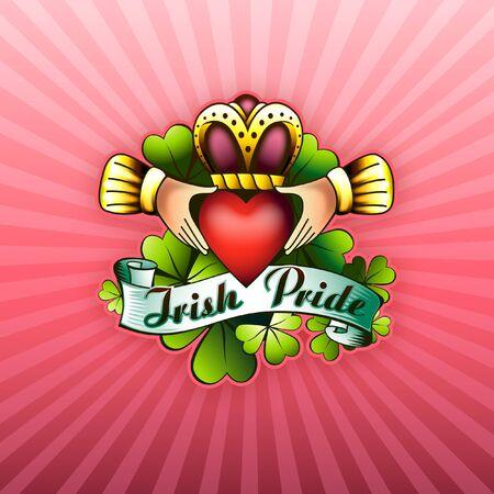 March 17 St. Patricks Day Irish Pride Shamrocks with Love and Friendship Claddagh Design