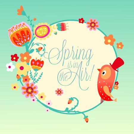 Decorative Spring Botanical Floral Emblem Vector Illustration with Garden Flowers and Bird