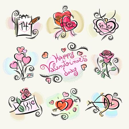 Nine Happy Valentine's Day Clipart Sticker Illustrations to Create a Special February 14 Expression of Love