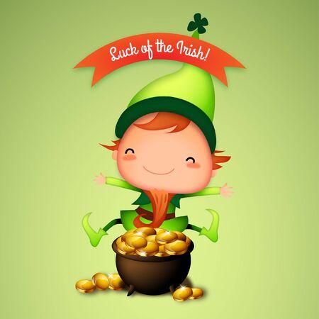 St. Patricks Day Excited Irish Leprechaun Finds Pot of Gold