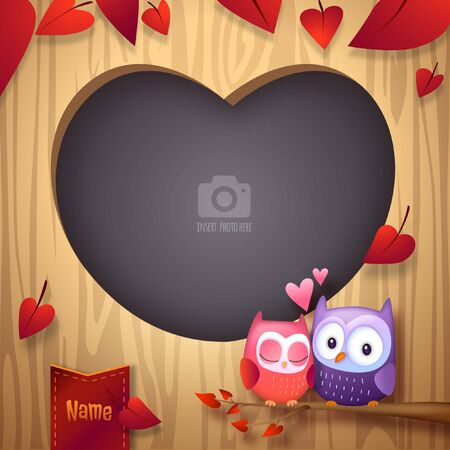 Valentine's Day Photo Frame with Two Owls Cuddle Together on Tree Branch Sharing Love 向量圖像