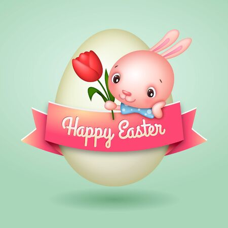 Happy Easter Egg Banner with  Easter Bunny and Tulip Flower Vector Illustration