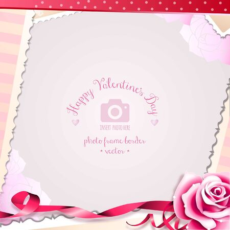 February 14 Happy Valentine's Day Rose and Romantic Hearts Photo Frame