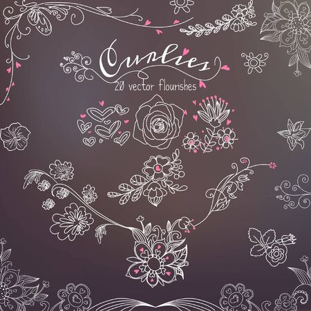 Sixteen Decorative Curlies Vector Floral Design Element Flourishes