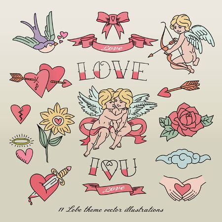 Seventeen Delightful Vector Stickers Depicting Love and Romance