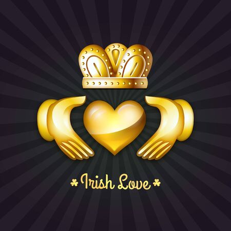 March 17 St. Patrick's Day Irish Love and Friendship Gold Claddagh Design