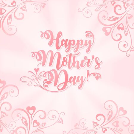 Happy Mother's Day Greeting with Floral Embellishments Vector Illustration
