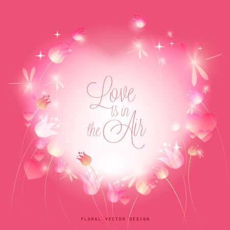 Ethereal Valentine's Day Love is in the Air Vector Illustration with Tulips and Dragonflies Illusztráció