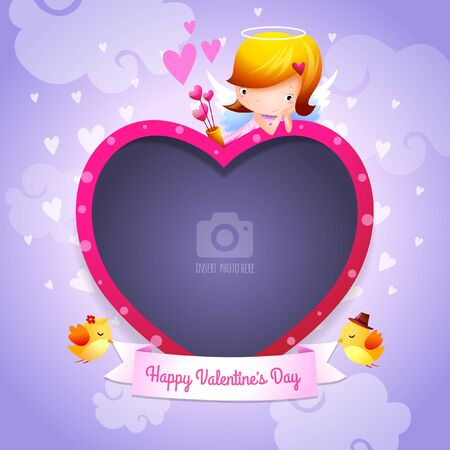 Valentine's Day Happy Valentine's Day Cupid Angel with Heart-Shaped Photo Frame Ilustrace