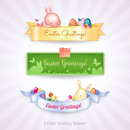 Easter Greetings Banners Vector Illustration with Cute Easter Bunnies, Colored Eggs, Tulip Flowers and Butterflies