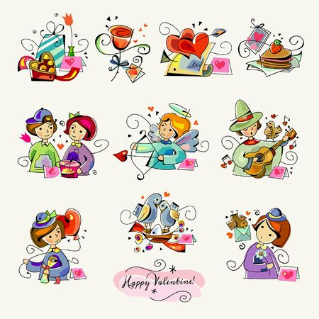 Celebrating Expressions of Love and Romance with February 14 Happy Valentine's Day Romantic Clipart Sticker illustrations Vector Illustration