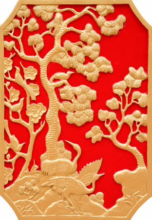 art piece: Gold pattern on a piece of carved wood art China