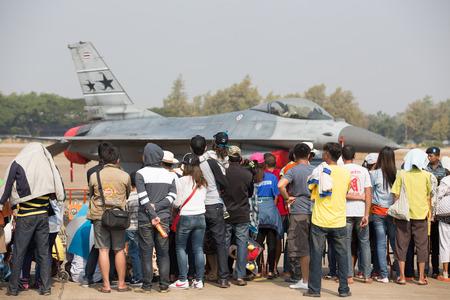 children's show: Nakhon Ratchasima, THAILAND - JAN 09: F-16 air show on childrens Day at Korat Royal Thai Air Force Base located in northeast Thailand, January 09, 2016, Nakhon Ratchasima, Thailand.