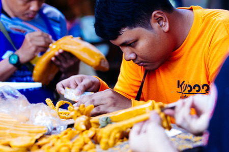 diplomatic: Nakhon ratchasima  Candle Festival, The Candles are carved out of wax, Thai art  July 17, 2016, Nakhon ratchasima, Thailand.