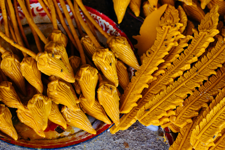 Nakhon ratchasima  Candle Festival, The Candles are carved out of wax, Thai art  July 17, 2016, Nakhon ratchasima, Thailand.