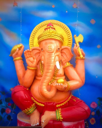 gold: Gold ganesh on blue  Stock Photo