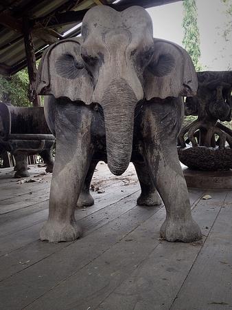 Elephant Wood Sculpture In Garden Stock Photo   38227283