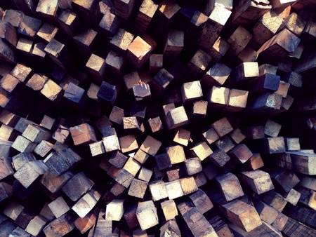 up: Wood piling up