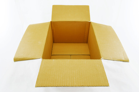 stockpiling: Opened cardboard box isolated on white