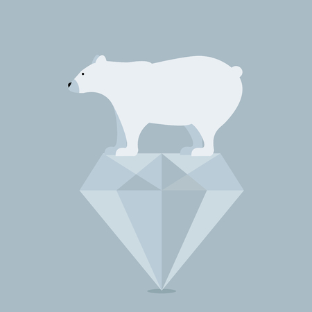 threatened: Polar bear  on diamond