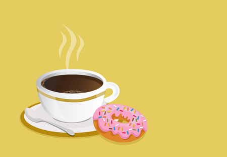 Black coffee cup with donut