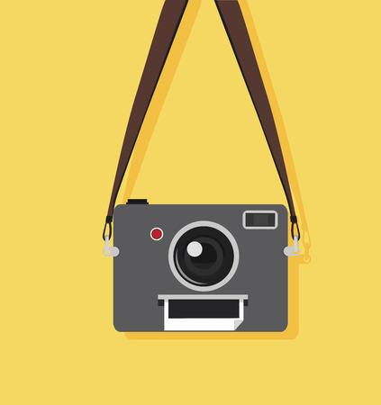 jobs: Camera retro with strap vector illustration.